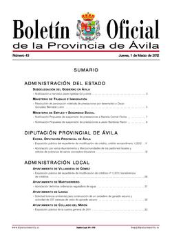 Boletín Oficial de la Provincia del jueves, 1 de marzo de 2012