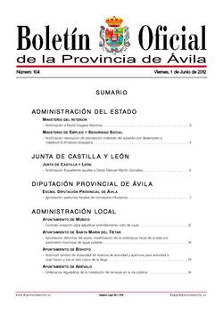 Boletín Oficial de la Provincia del viernes, 1 de junio de 2012