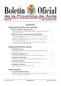 Boletín Oficial de la Provincia del lunes, 1 de octubre de 2012