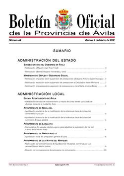 Boletín Oficial de la Provincia del viernes, 2 de marzo de 2012