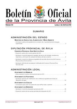Boletín Oficial de la Provincia del lunes, 2 de abril de 2012
