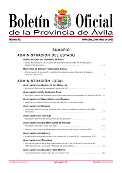 Boletín Oficial de la Provincia del miércoles, 2 de mayo de 2012