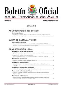 Boletín Oficial de la Provincia del jueves, 2 de agosto de 2012