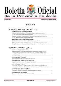 Boletín Oficial de la Provincia del martes, 2 de octubre de 2012