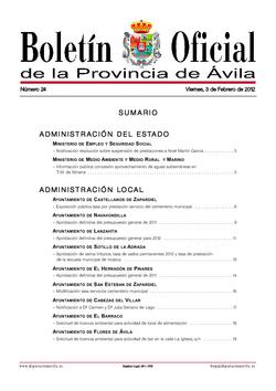 Boletín Oficial de la Provincia del viernes, 3 de febrero de 2012