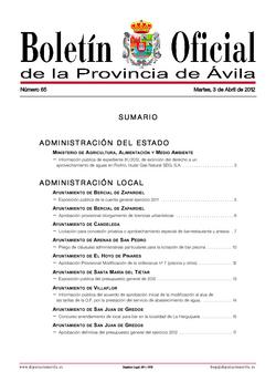 Boletín Oficial de la Provincia del martes, 3 de abril de 2012