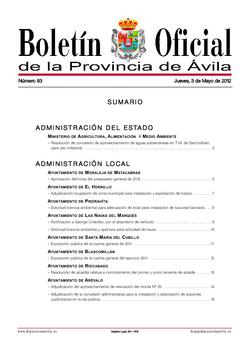 Boletín Oficial de la Provincia del jueves, 3 de mayo de 2012