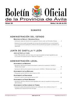 Boletín Oficial de la Provincia del martes, 3 de julio de 2012