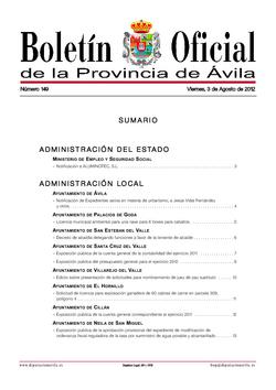 Boletín Oficial de la Provincia del viernes, 3 de agosto de 2012