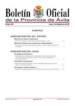 Boletín Oficial de la Provincia del lunes, 3 de septiembre de 2012