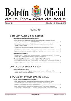 Boletín Oficial de la Provincia del miércoles, 3 de octubre de 2012