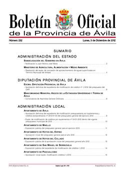 Boletín Oficial de la Provincia del lunes, 3 de diciembre de 2012