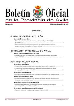 Boletín Oficial de la Provincia del miércoles, 4 de abril de 2012