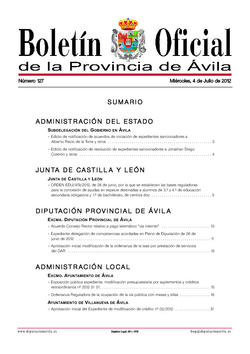 Boletín Oficial de la Provincia del miércoles, 4 de julio de 2012