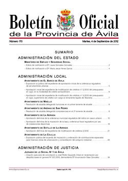 Boletín Oficial de la Provincia del martes, 4 de septiembre de 2012