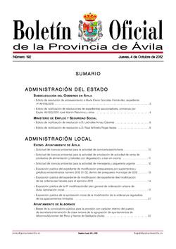 Boletín Oficial de la Provincia del jueves, 4 de octubre de 2012
