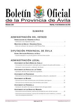 Boletín Oficial de la Provincia del martes, 4 de diciembre de 2012