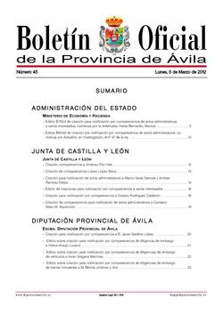 Boletín Oficial de la Provincia del lunes, 5 de marzo de 2012