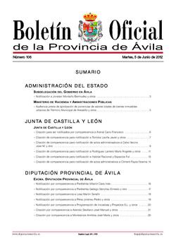 Boletín Oficial de la Provincia del martes, 5 de junio de 2012