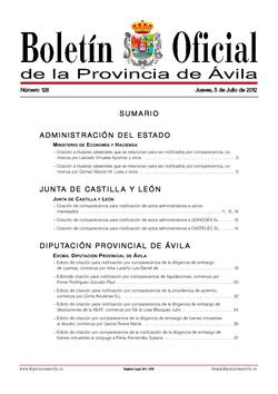 Boletín Oficial de la Provincia del jueves, 5 de julio de 2012