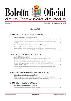 Boletín Oficial de la Provincia del miércoles, 5 de septiembre de 2012