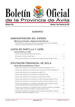 Boletín Oficial de la Provincia del viernes, 5 de octubre de 2012