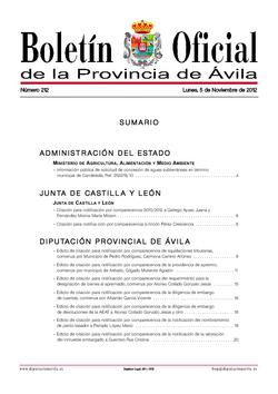 Boletín Oficial de la Provincia del martes, 6 de noviembre de 2012