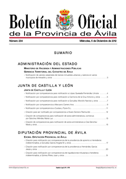 Boletín Oficial de la Provincia del miércoles, 5 de diciembre de 2012