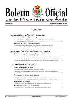Boletín Oficial de la Provincia del martes, 6 de marzo de 2012