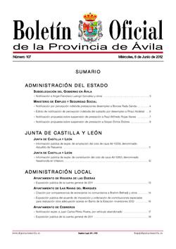Boletín Oficial de la Provincia del miércoles, 6 de junio de 2012