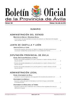 Boletín Oficial de la Provincia del viernes, 6 de julio de 2012