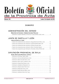Boletín Oficial de la Provincia del lunes, 6 de agosto de 2012