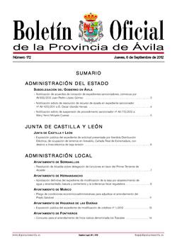 Boletín Oficial de la Provincia del jueves, 6 de septiembre de 2012