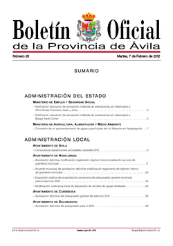 Boletín Oficial de la Provincia del martes, 7 de febrero de 2012