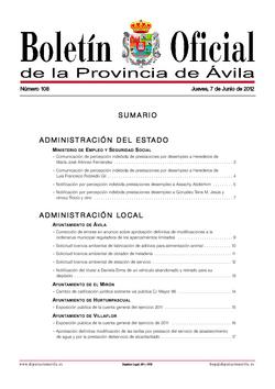 Boletín Oficial de la Provincia del jueves, 7 de junio de 2012