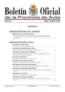 Boletín Oficial de la Provincia del martes, 7 de agosto de 2012