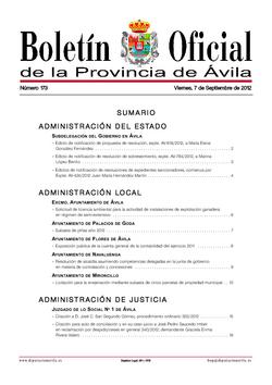 Boletín Oficial de la Provincia del viernes, 7 de septiembre de 2012