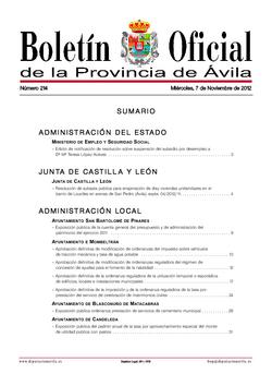 Boletín Oficial de la Provincia del miércoles, 7 de noviembre de 2012