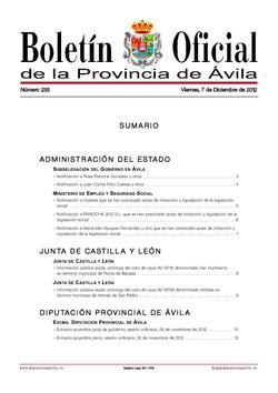 Boletín Oficial de la Provincia del viernes, 7 de diciembre de 2012