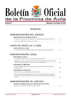 Boletín Oficial de la Provincia del miércoles, 8 de febrero de 2012