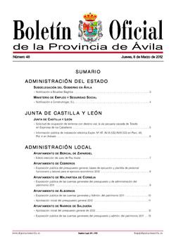 Boletín Oficial de la Provincia del jueves, 8 de marzo de 2012