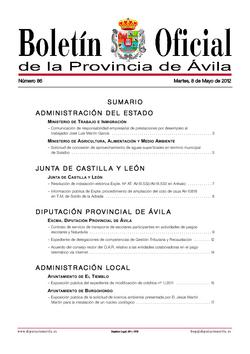 Boletín Oficial de la Provincia del martes, 8 de mayo de 2012