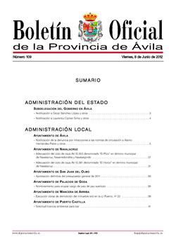 Boletín Oficial de la Provincia del viernes, 8 de junio de 2012