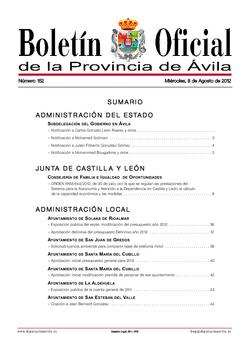 Boletín Oficial de la Provincia del miércoles, 8 de agosto de 2012