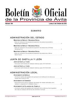 Boletín Oficial de la Provincia del lunes, 8 de octubre de 2012