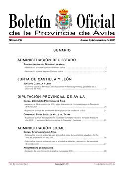 Boletín Oficial de la Provincia del jueves, 8 de noviembre de 2012