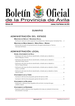 Boletín Oficial de la Provincia del jueves, 9 de febrero de 2012