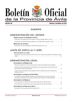 Boletín Oficial de la Provincia del viernes, 9 de marzo de 2012