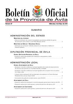 Boletín Oficial de la Provincia del miércoles, 9 de mayo de 2012