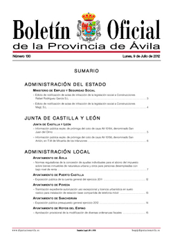 Boletín Oficial de la Provincia del lunes, 9 de julio de 2012